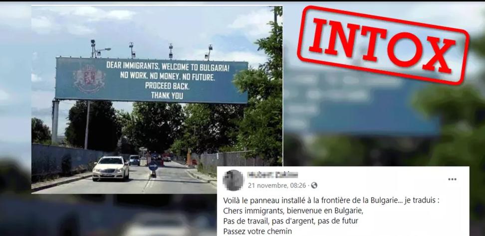 """Xénophobie: Ce panneau en Bulgarie invitant les migrants à """"rentrer chez eux"""" est un photomontage"""