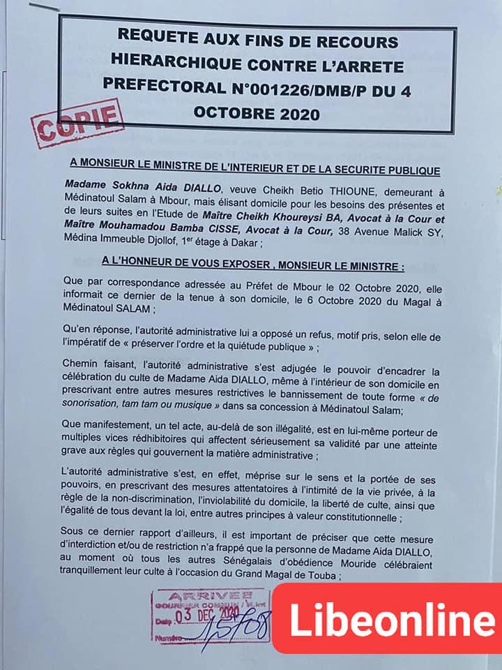Retour hiérarchique: Sokhna Aïda Diallo traîne le Préfet de Mbour devant le ministre de l'Intérieur
