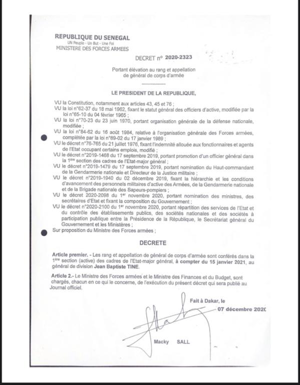 GENDARMERIE: Jean Baptiste Tine, promu Général de Corps d'Armée (DÉCRET)