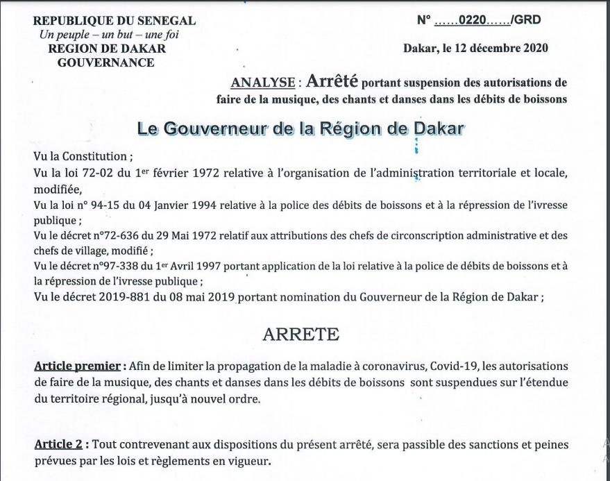Voici l'arrêté portant suspension des autorisations de faire de la musique, des chants, et danses dans les débits de boissons(Documents)