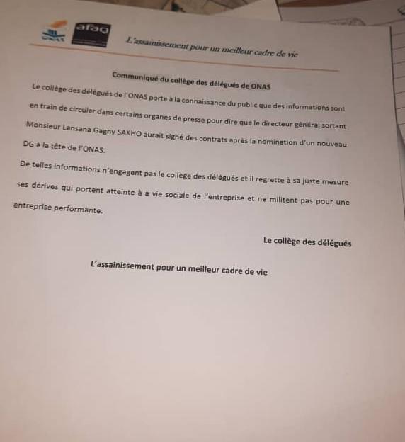 Supposés contrats indus: Des délégués de l'Onas se démarquent et blanchissent Lansana Gagny Sakho