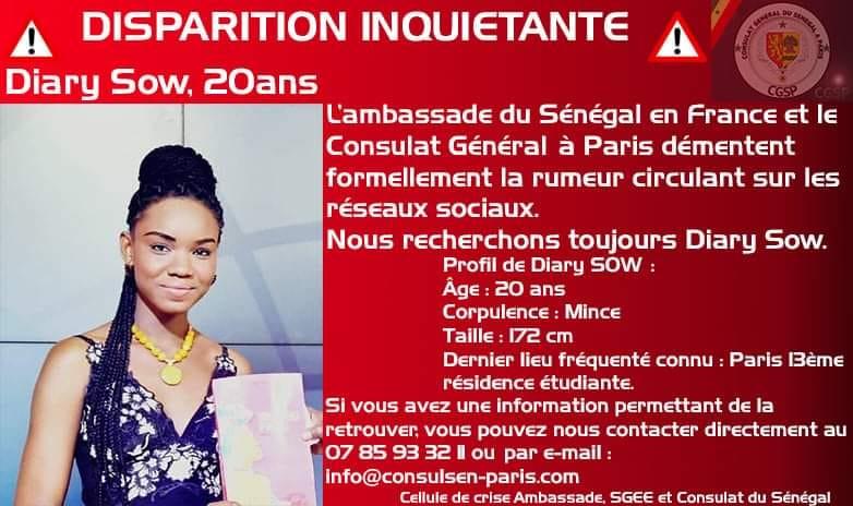 """""""DIARY SOW RETROUVÉE """": L'Ambassade et le Consulat du Sénégal à Paris démentent"""