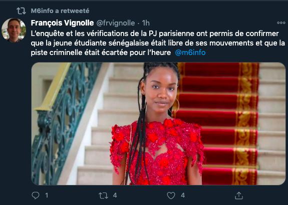 Disparition : Ce que Diary Sow aurait dit à la police française selon la chaîne française, M6 France