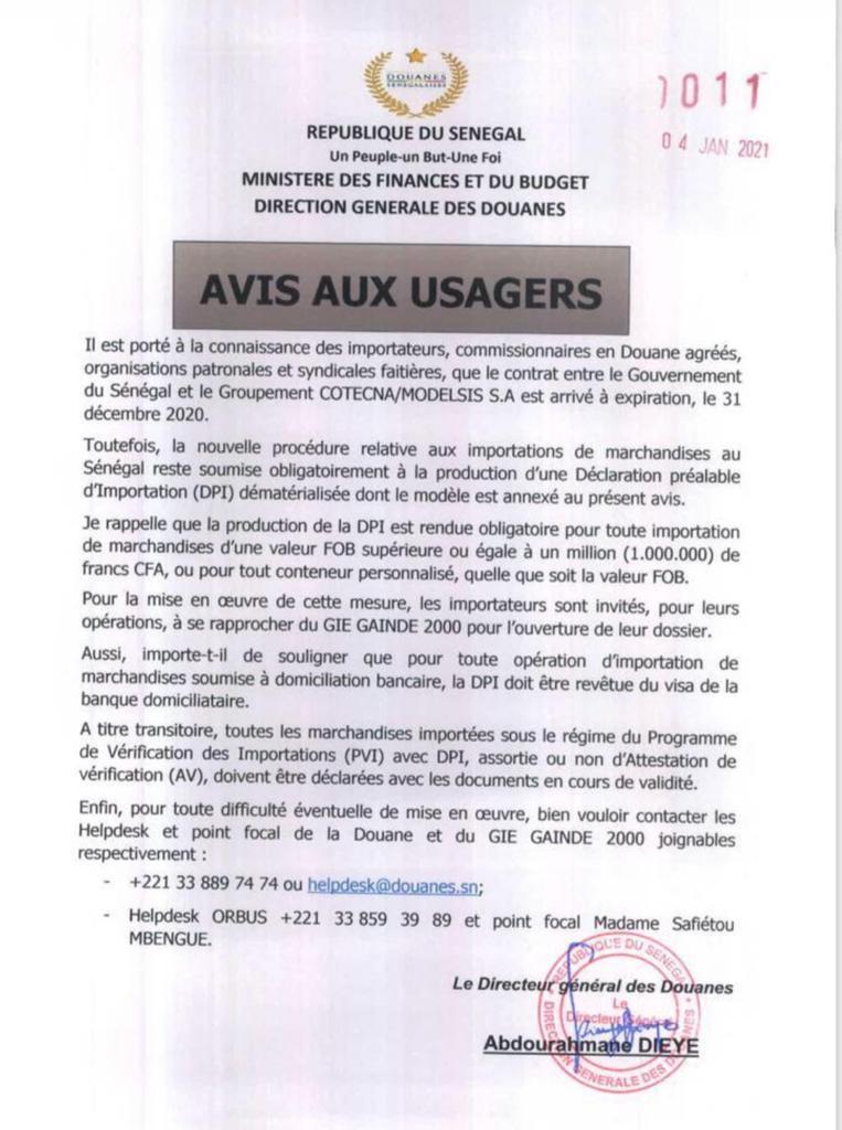 Fin du contrat entre le Sénégal et le Groupement Cotecna/Modelsis: La nouvelle procédure relative aux importations de marchandises, reste soumise à la production d'une Dpi
