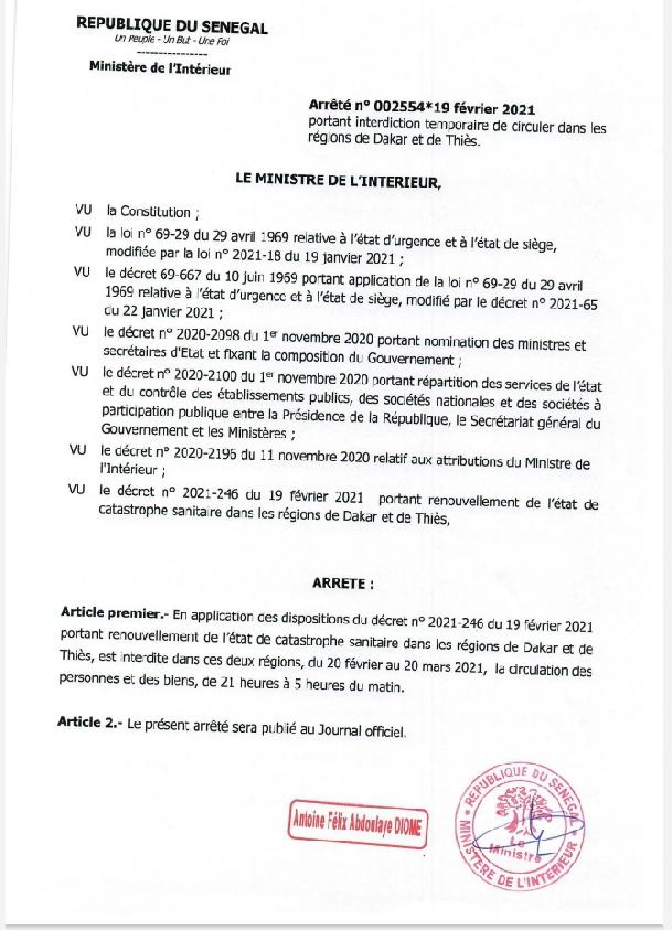 Couvre-feu et interdiction de rassemblement: La nouvelle mesure en vigueur jusqu'au 20 mars