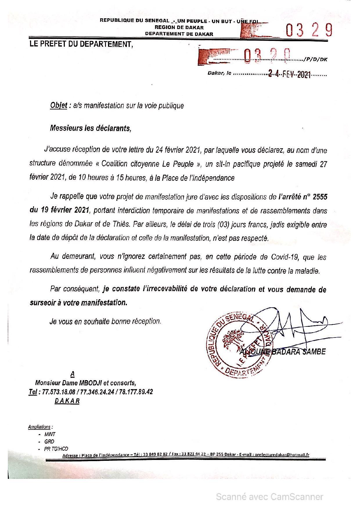 Covid-19: Le préfet de Dakar interdit la marche de Dame Mbodj et consorts...