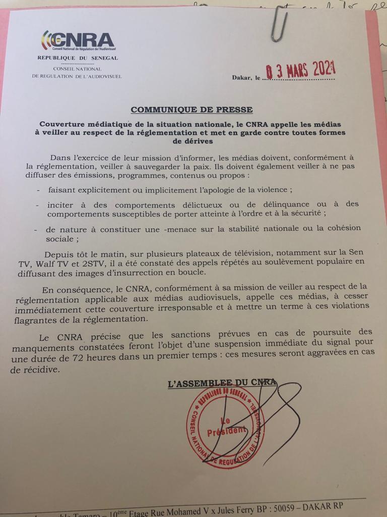 Couverture médiatique de la situation nationale: Le Cnra appelle les médias au respect de la réglementation et met en garde contre toutes formes de dérives