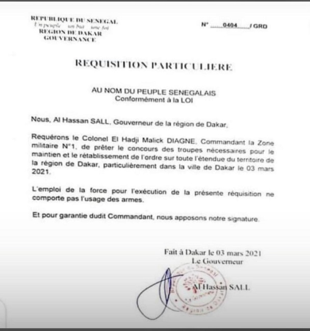 Trouble à l'ordre public: Hier, le Gouverneur de Dakar a sollicité l'intervention de l'armée