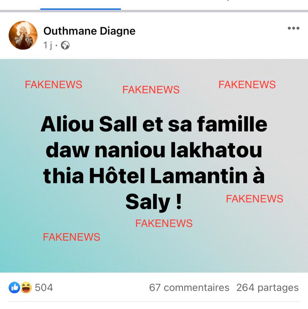 Fake News: Aliou Sall n'est pas logé au Lamantin Beach (la Direction)