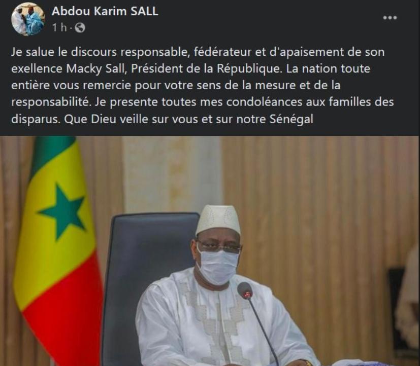 Discours à la Nation: Abdou Karim Sall félicite Macky Sall