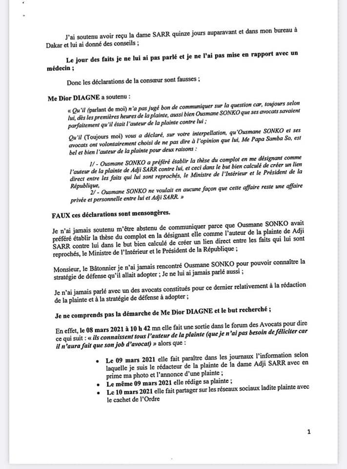 Plainte de Adji Sarr - Me Pape Samba So dément et poursuit Me Dior Diagne pour dénonciation calomnieuse