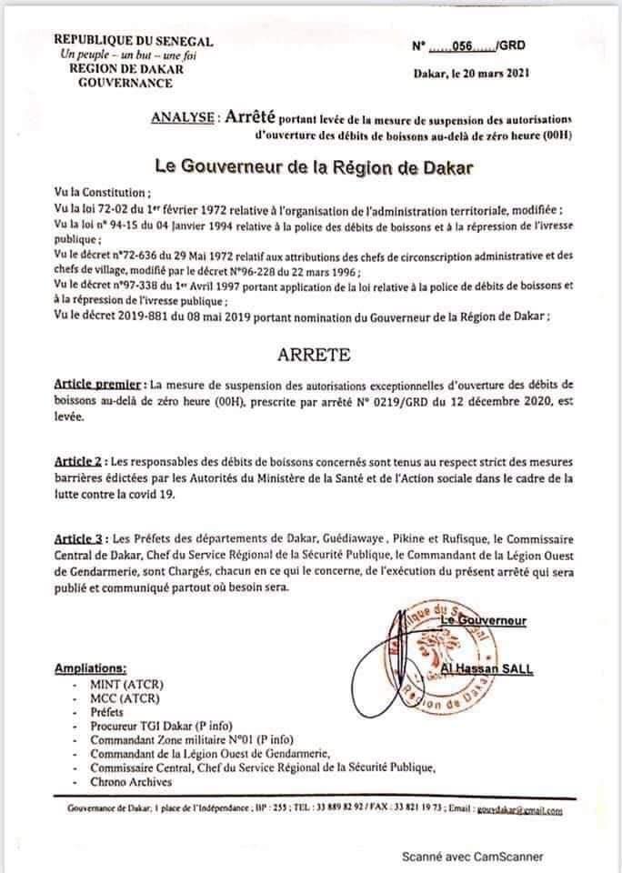 Dakar : Le gouverneur rouvre les débits de boissons au-delà de minuit