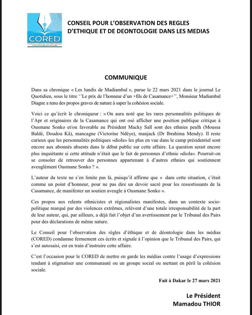 "Le Cored condamne les propos ""ethnicistes"" de Madiambal Diagne"