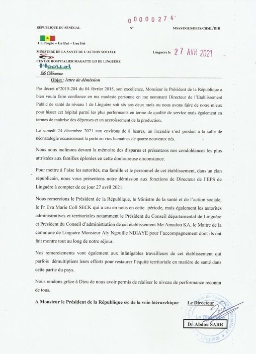 Bébés morts: Le Directeur de l'hôpital Magatte Lô démissionne
