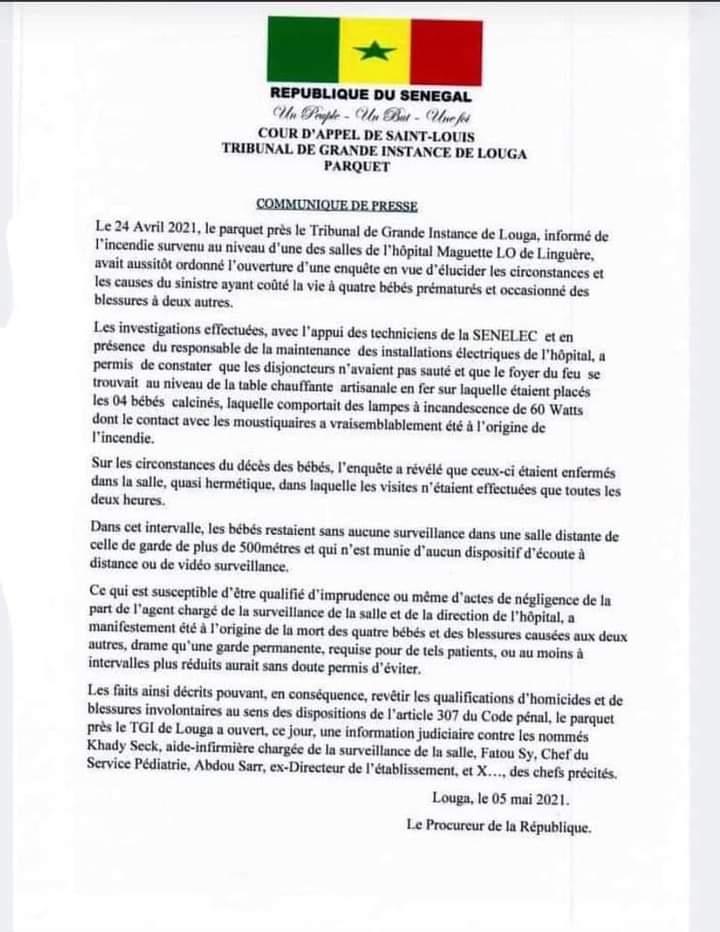 Incendie à l'hôpital Magatte Lô de Linguère: Une information judiciaire ouverte contre l'ex-Directeur