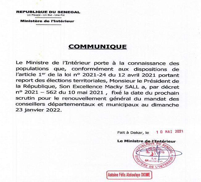 Les dés sont jetés pour les Locales: La date du 23 janvier 2022 fixée par décret