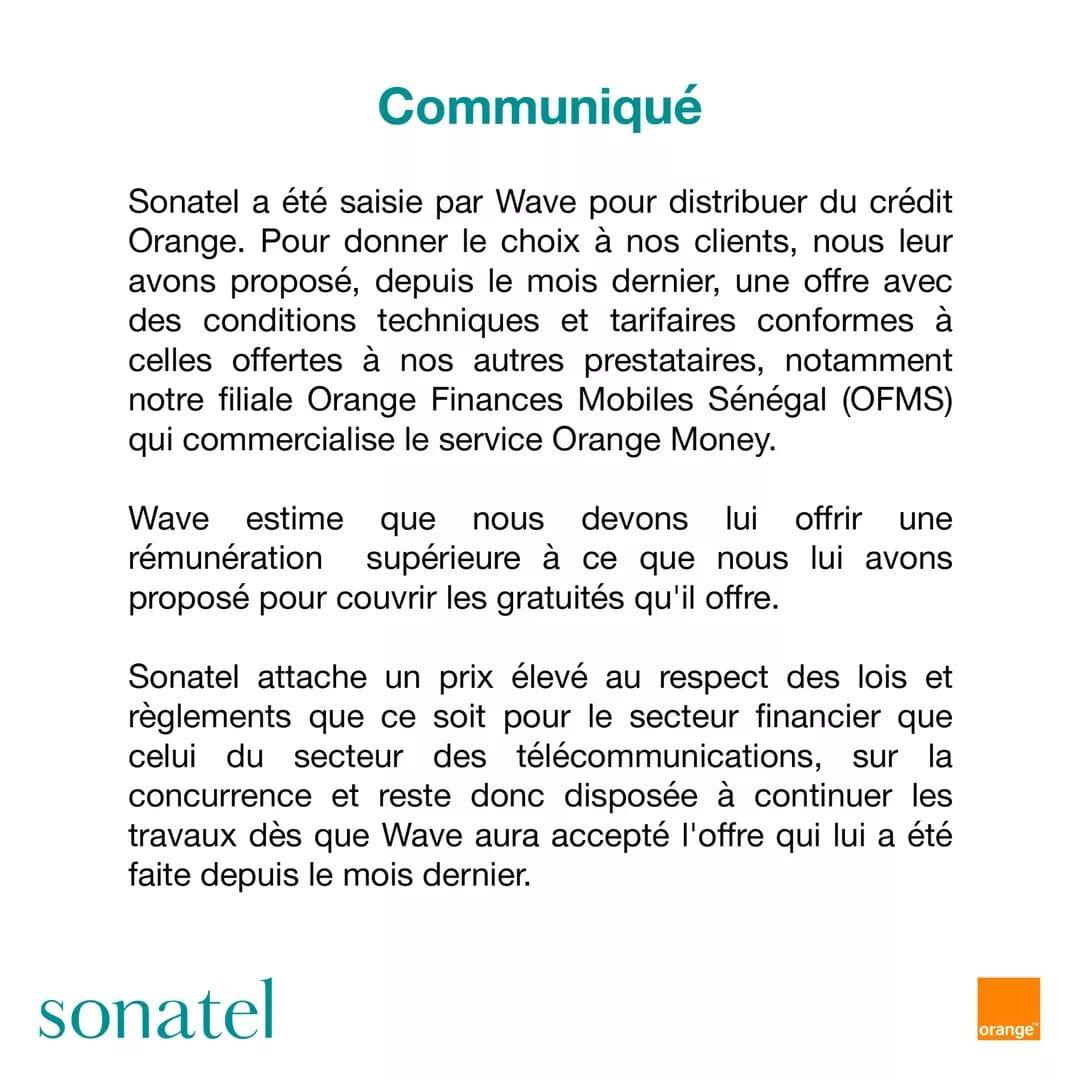Affaire achat crédit téléphonique / Après Wave, la Sonatel donne sa version des faits