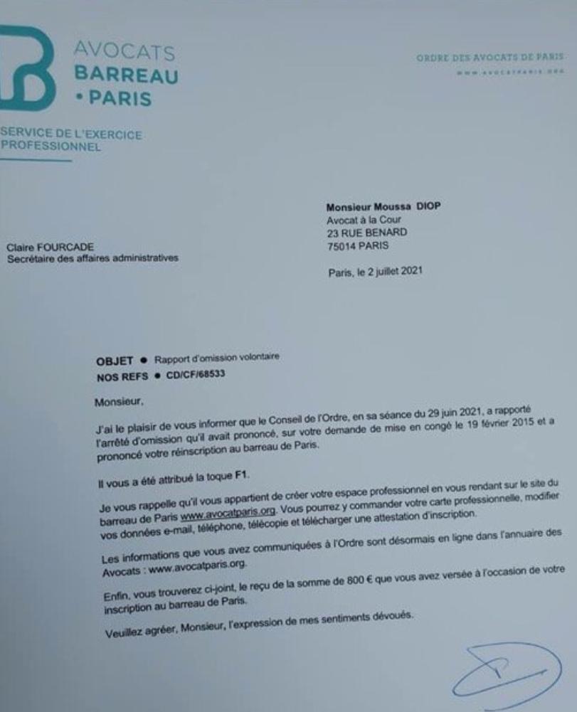 Débarqué de DDD: Me Moussa Diop réintègre le Barreau de Paris