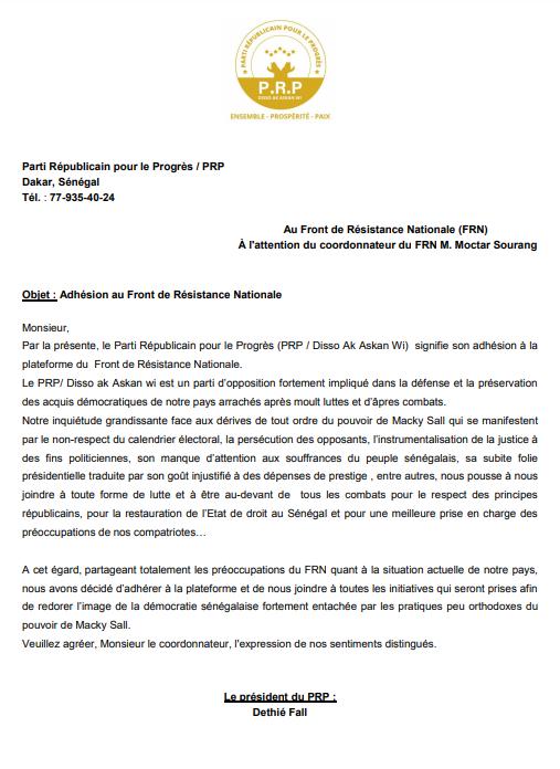 Coalition: Le PRP de Déthié Fall adhère au Front de Résistance Nationale