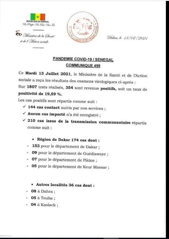 Covid-19: 354 nouveaux cas, 111 patients guéris, 17 cas graves, 5 décès