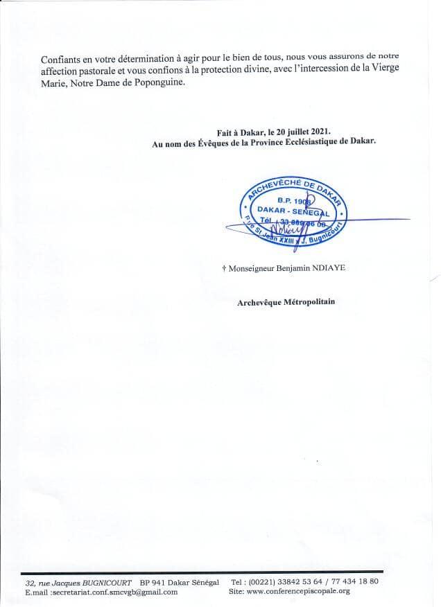 Troisième vague de Covid-19: L'Eglise appelle les Sénégalais à redoubler de vigilance