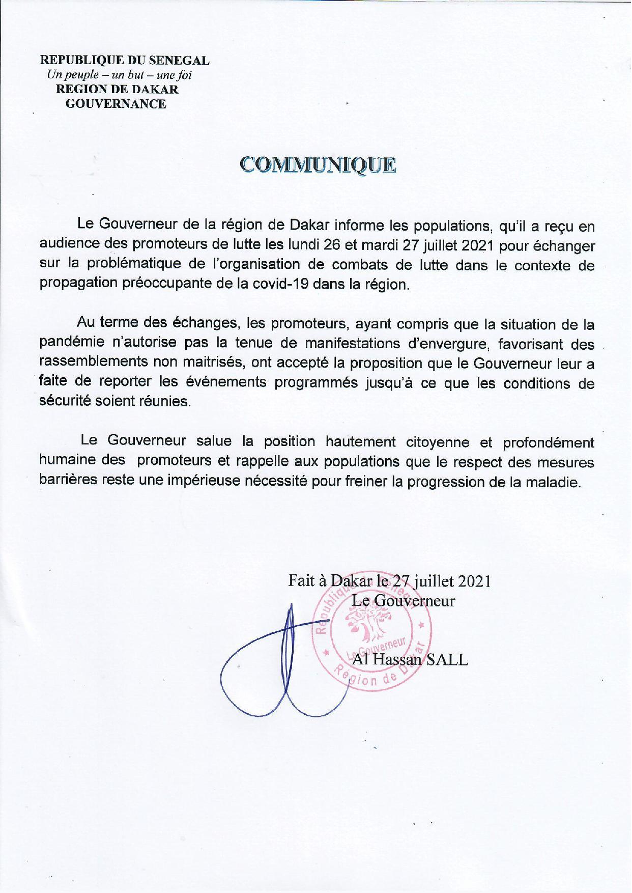 Lutte / Après leur audience avec le Gouverneur de Dakar: Les promoteurs de lutte reportent les évènements programmés