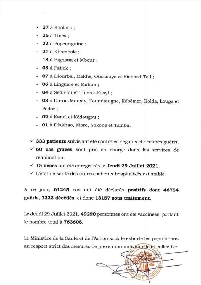1075 cas et 15 décès annoncés