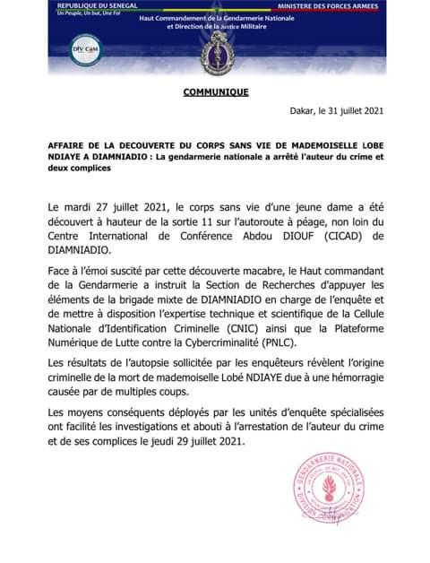 Meurtre de Lobé Ndiaye: La Gendarmerie annonce l'arrestation du criminel et ses complices