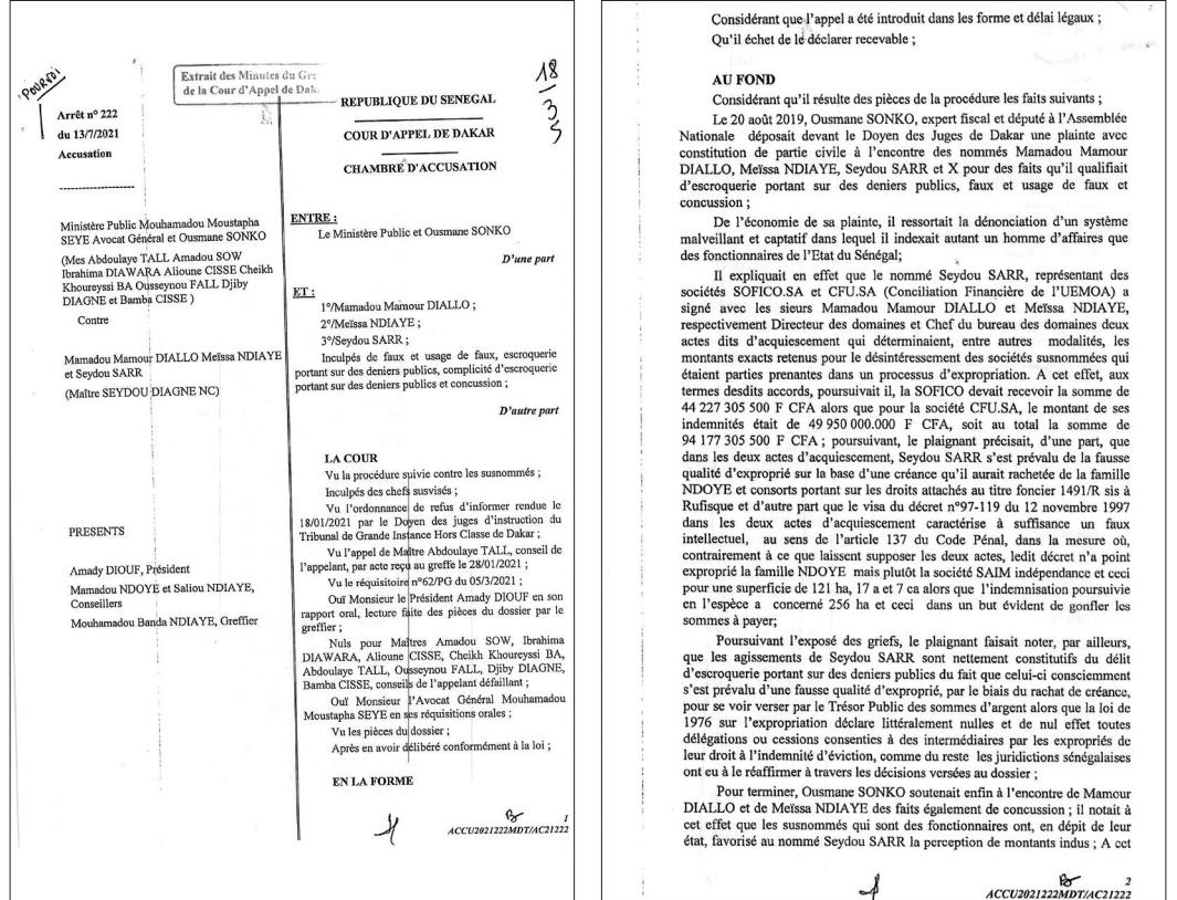 Arrêt Mamour Diallo et consorts: Ousmane Sonko perd la bataille des 94 milliards (document)