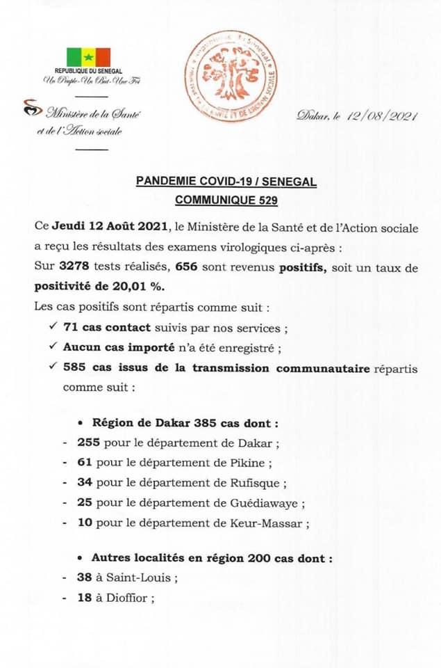 Covid-19: 656 nouveaux cas, 484 patients guéris, 63 cas graves, 9 décès...