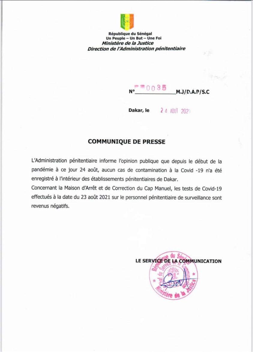 """L'Administration pénitentiaire: """"Aucun cas de coronavirus n'a été enregistré à l'intérieur des établissements pénitentiaires..."""""""