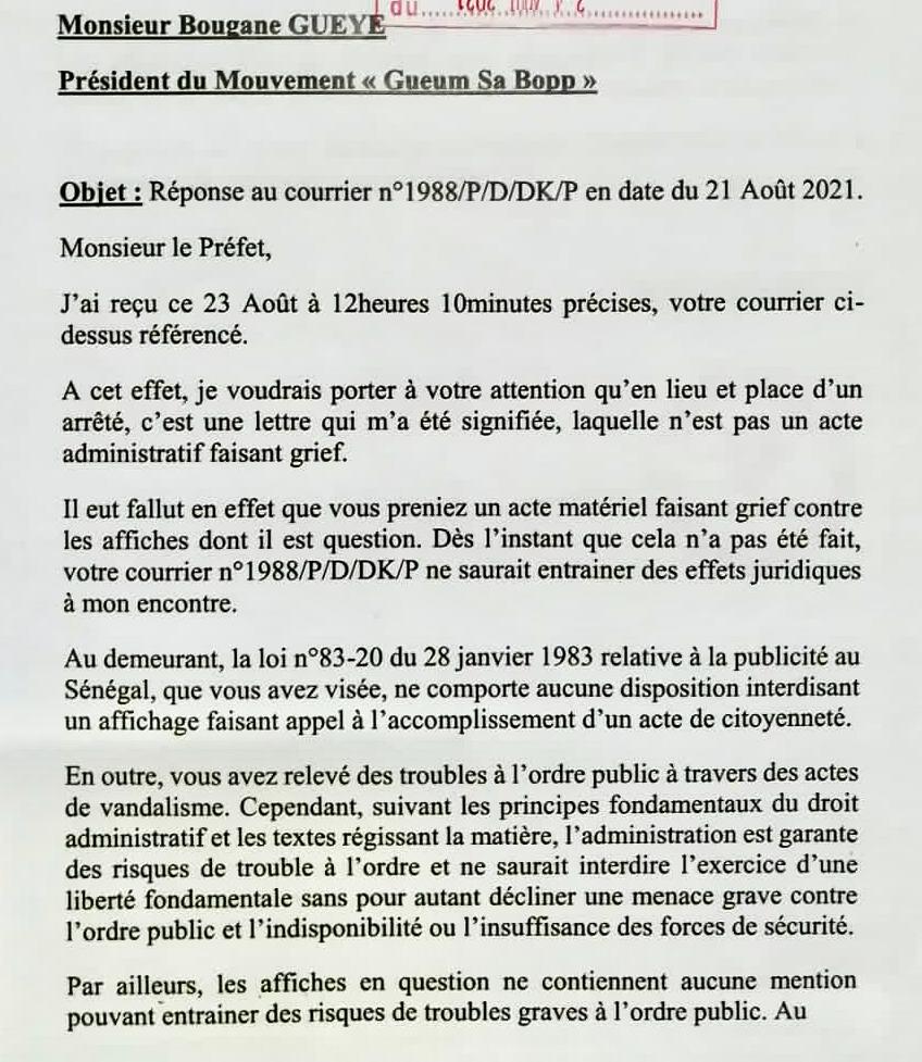 Ordre du préfet de «retirer des affiches incriminées » : Bougane Guèye, « pour le moment », dit niet !