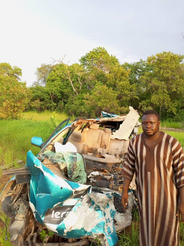 Accident de l'équipe de Leral: Moussa Soumbounou, Président JCS, de retour sur les lieux, sensibilise sur la route