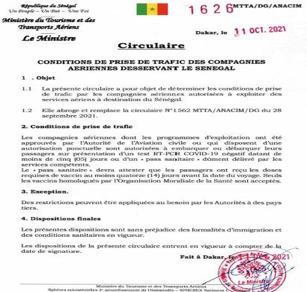 Trafic des compagnies aériennes desservant le Sénégal : les conditions de reprise et ses restrictions pouvant  être appliquées  à des pays tiers