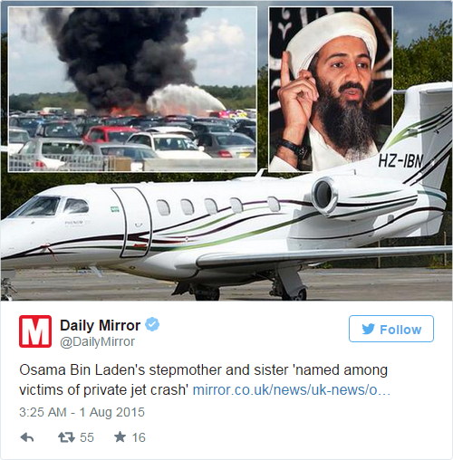La belle-mère et l'une des soeurs de Ben Laden tuées dans un accident d'avion