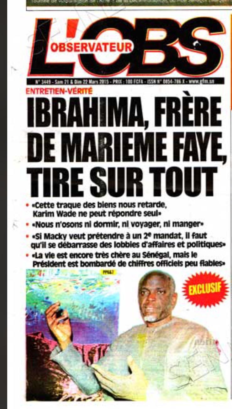 Ibrahima Faye dit Iba n'est pas n'importe qui dans la galaxie familiale du président de la République. Le dernier enfant de Macky Sall porte le nom de l'ainé de la famille de Mareme Faye. Iba avait ses entrées à la présidence et pouvait voir le chef de l'Etat comme bon lui semblait. C'est la raison pour laquelle personne ne comprenait sa sortie