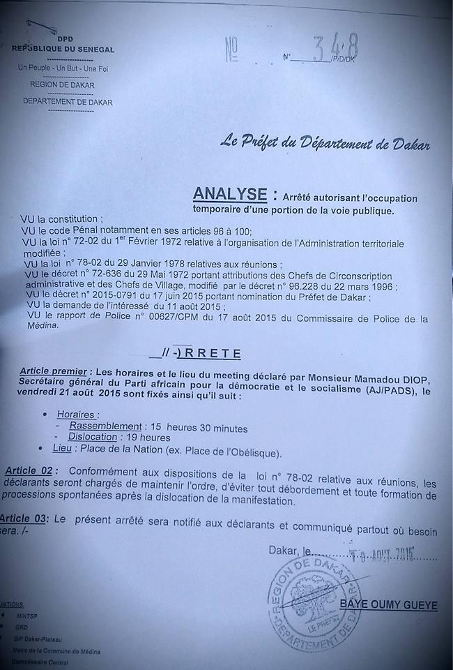 Le meeting de l'opposition autorisé par le préfet de Dakar (Exclusif Leral)