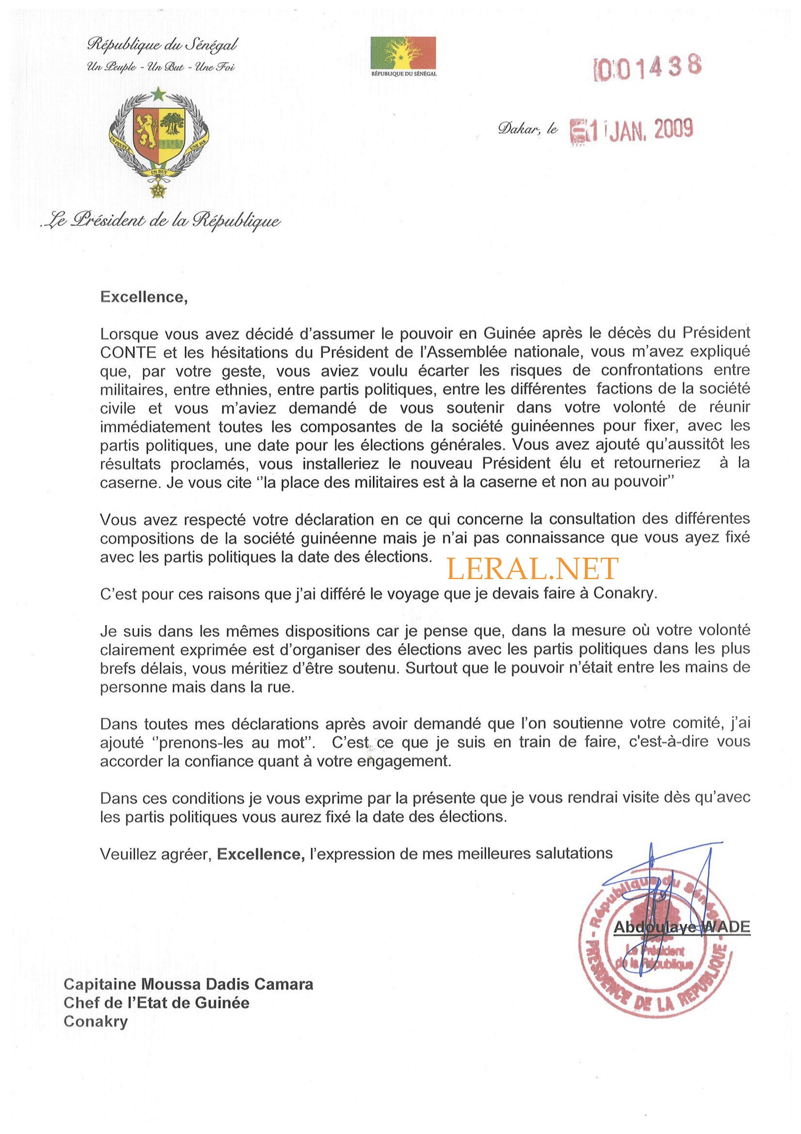 Eclairage de Ahmed Khalifa Niasse : Wade a toujours demandé à Moussa Dadis Camara d'organiser les élections et de partir (Document)