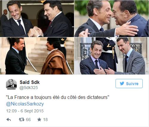 """""""La France a toujours été du côté des dictateurs"""", dixit Nicolas Sarkozy"""