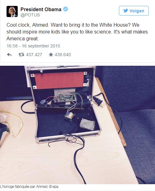 Le jeune Ahmed couvert de cadeaux par Microsoft