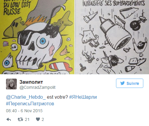 Les dessins de Charlie Hebdo sur le crash de l'Airbus ne font pas rire la Russie