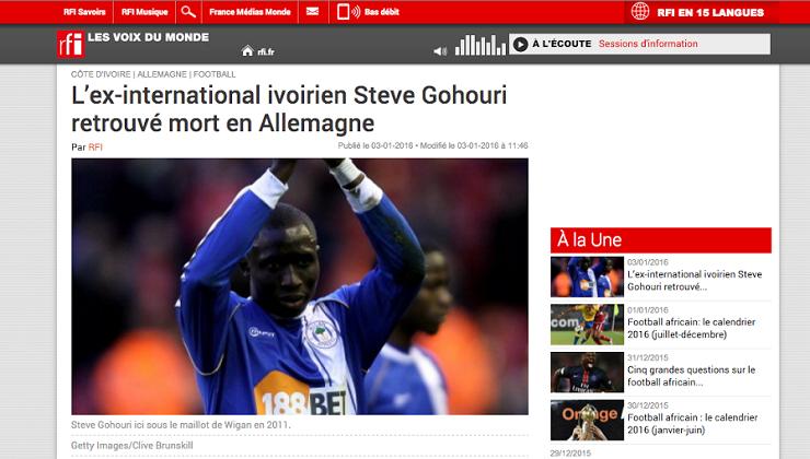 """RFI """"tue"""" le footballeur sénégalais Momo Diamé"""