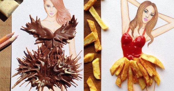 Il réalise des robes avec des frites, du chocolat et du dentifrice... Le résultat est impressionnant !