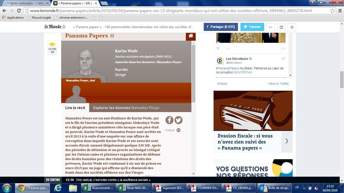Panama papers : Sur la piste des fonds de Karim Wade ( Documents )