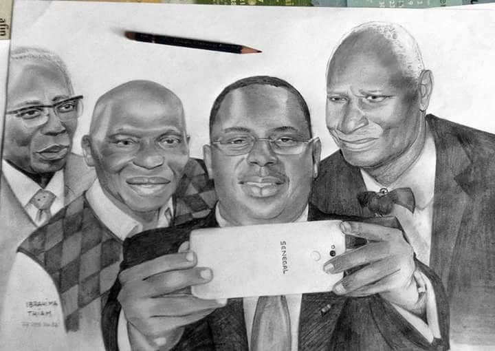 Le président Macky Sall et ses prédecesseurs en mode selfie