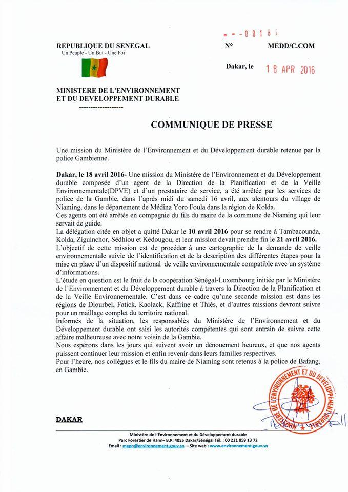 Les agents du ministère de l'Environnement arrêtés en Gambie ont été libérés (Officiel)