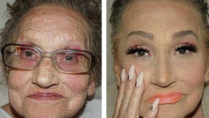 A 80 ans, elle a demandé à sa petite-fille de la maquiller pour la rendre « plus jeune » : le résultat est incroyable !
