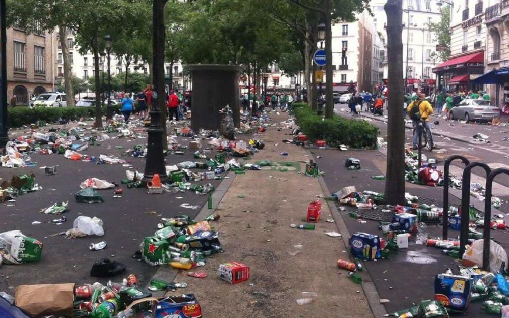 Euro 2016 : voici  les dégâts après le passage des Irlandais à Paris !