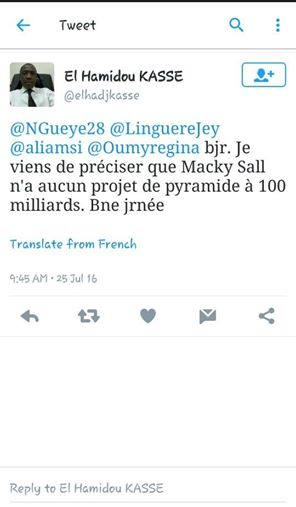 El Hadji Kassé dément la rumeur sur la pyramide à 100 milliards attribuée à Macky Sall.