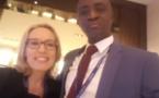 Le journaliste Johnson Mbengue de l'Apix en compagnie de sa consoeur Myriam Mascarello envoyée spéciale de France 24 au AFRICA CEO FORUM de Genève